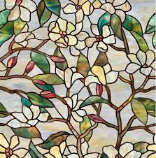 magnolia electrostatic printing stained glass matte window stickers bathroom glass window raamfolie statisch