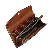 italian full grain tan leather large purse with popper