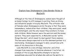 explain how shakespeare uses gender roles in macbeth gcse  document image preview