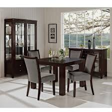 Dining Room:Luxurious Gray Asian Dining Room Furnished With Dark Table And  Quilted Chairs Inspiration