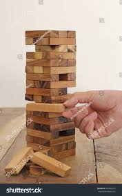 Wooden Strategy Games Closeup Hand Holding Blocks Wood Tower Stock Photo 100 84