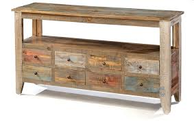 solid pine wood rustic eight drawer sofa table in multi colored finish