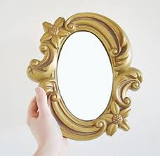 Vintage Oval Mirror Gold Chalkware Frame Decorative by mothrasue