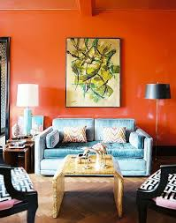 bright and modern curtains with orange walls decor
