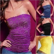 New <b>Womens Lace</b> Seamless <b>Tube Top</b> Strapless Long Bandeau ...