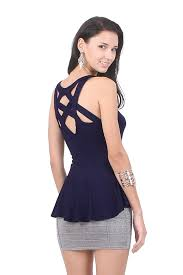 Madison Cross Back Top - Navy Blue | Labellavita - ShopperBoard