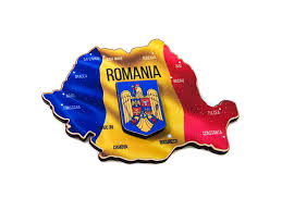 Magnet lemn Harta Romania cu stema 3D