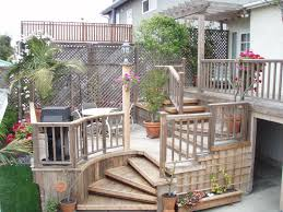 Exterior:Magnificent Small Deck Designs Ideas With Terraced Shape Using  Small Steps And Railing Fence