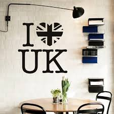 art design home decoration pvc i love uk wall sticker waterproof vinyl house decor words