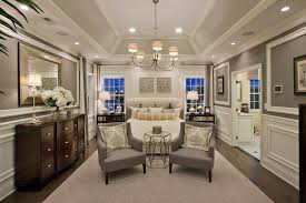 transitional master bedroom. Transitional Master Bedroom With High Ceiling, Carpet, Hardwood Floors, Wainscoting, Crown Molding A