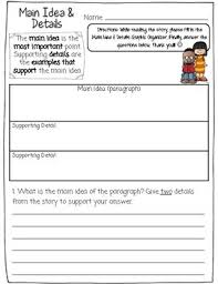Main Idea Detail Chart With Constructed Response Question