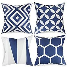 blue and white pillows. Unique White Popeven Royal Blue Throw Pillow Covers Set Of 4 Outdoor Geometric Pattern  Cushion Slipcovers 18 X For And White Pillows