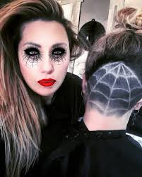 spider web eye makeup with matching haircut