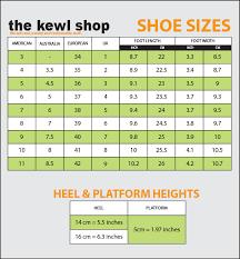 Shoe Sizes The Kewl Shop