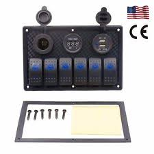 toggle switch panel 6 gang usb car marine boat toggle rocker switch panel circuit breaker voltmeter