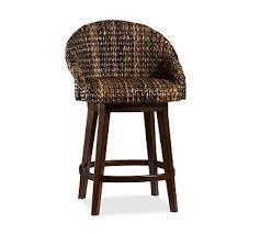 Seagrass Bucket Swivel Barstool Counter Height Havana Dark Weave