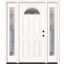 white craftsman front door. 63.5 In. X 81.625 Rochester Patina Fan Lite Unfinished Smooth Left-Hand White Craftsman Front Door