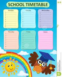 Weekly School Timetable Subject Stock Vector Illustration