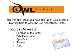 letter of job acceptance crossing the finish line writing a job acceptance letter ppt