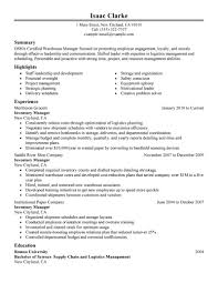 Inventory Control Manager Resume Job Description Supervisor