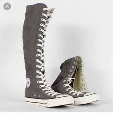 converse knee high boots. ((new)) gray converse all star knee high shoes boots e