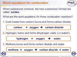 word equations for combustion