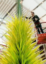 lime green icicle tower by dale chihuly