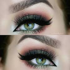 dark green pink smokey eye