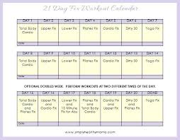 Free Workout Calendar Template Together With Day Fix Workout ...