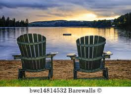 adirondack chairs on beach sunset. Modren Chairs Two Adirondack Chairs At The Beach Art Print Poster  Wooden  Sunset On To U