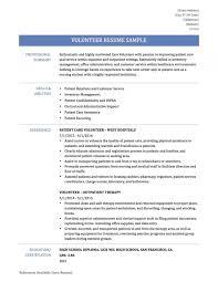 Resume Examples Volunteer