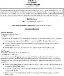 manager resume sample bar  seangarrette co  bar manager resume sample x