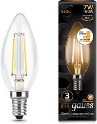 <b>Лампа Gauss</b> LED <b>Filament</b> Свеча E14 7W 550lm 2700К step ...