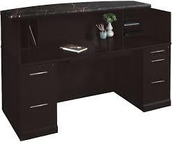 Office furniture reception desk counter Travel Agency Counter Straight Espresso Reception Desk W Granite Transaction Counter Modern Office Reception Desk Wgranite Counter Free Shipping
