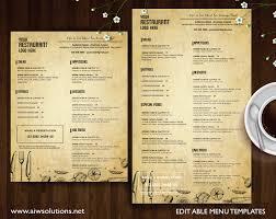 Resturant Menu Template Design Templates Menu Templates Wedding Menu Food Menu Bar