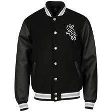 majestic men s chicago white sox fastball letterman jacket black image 1