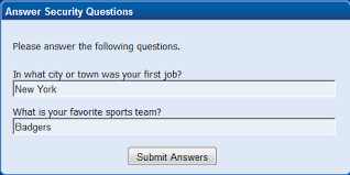 answer your security questions and submit answers