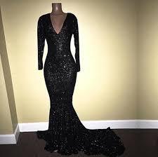 La Femme Prom Dresses Size Chart 2019 Black Mermaid Sequins Prom Dresses Deep V Neck Long Sleeves Bling Bling Evening Formal Dresses Plus Size Custom Made Dp0261 Le Femme Prom Dresses