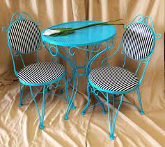 vintage metal bistro set 2 chairs and