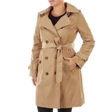 petite belted trench coat with hood