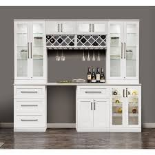 white home bar furniture. NewAge Products White Shaker-style 8-piece Home Bar Cabinet System Furniture Overstock.com