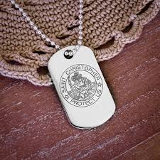 large silver st christopher dog tag