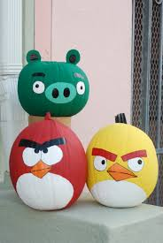 so who else is getting in the spirit out there i found this great angry birds painted pumpkins idea that we re going to be using this year