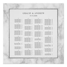 Alphabetical Order Marble Wedding Seating Chart