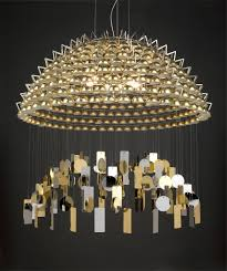 chandelier with structure in stainless steel ceramic and gold leaf todo quasar