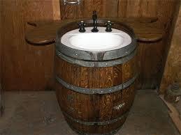 wine barrel vanity sink into