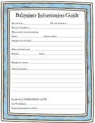 babysitter information sheet printable printable babysitter info printable