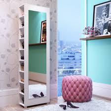 valencia 2 0 9 shelf shoe closet with full length mirror in white com