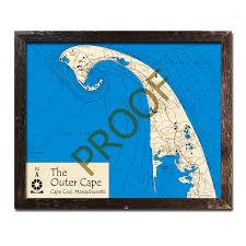 Cape Cod Wood Chart Cape Cod The Outer Cape Ma 3d Wood Topo Maps