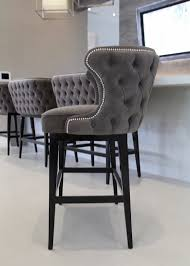Bar Stools : Back Tufted Bar Stools With Silver Nailhead Trim And Black  Wood Base For Interesting Counter Idea Your Kitchen Design White Button  Leather ...